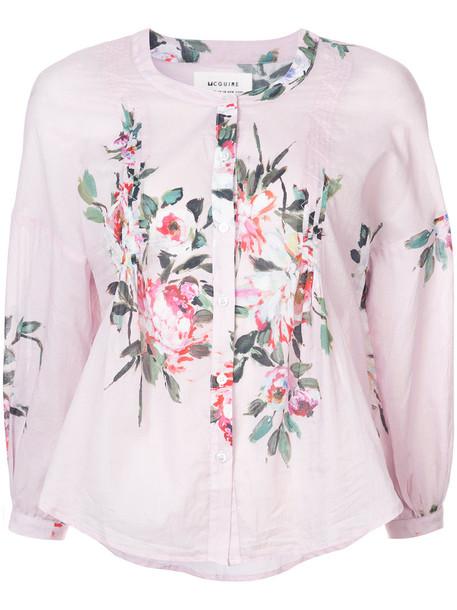 McGuire Denim blouse women floral cotton print purple pink top