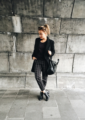 gladys doris dave,blogger,coat,pants,checkered,ankle boots,leather bag,checkered pants