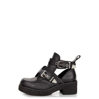 shoes leather black cut out ankle boots cut-out buckles patform ankle boots