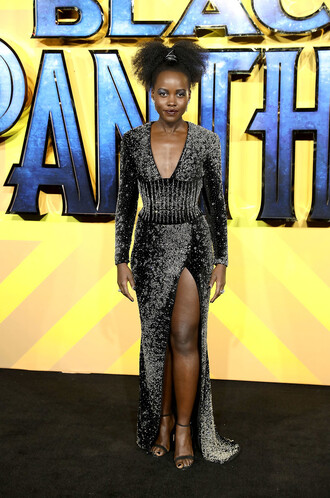 dress gown sandals slit dress plunge dress lupita nyong'o sparkly dress prom dress prom beauty
