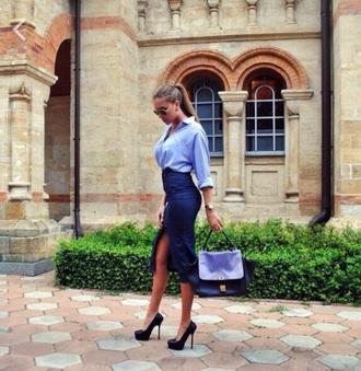 bag blue skirt