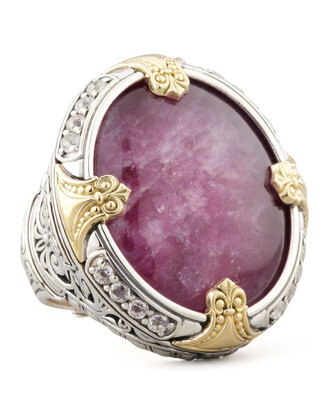 jewels gold ring konstantino silver round silver & 18k gold ruby/quartz doublet ring ruby quartz