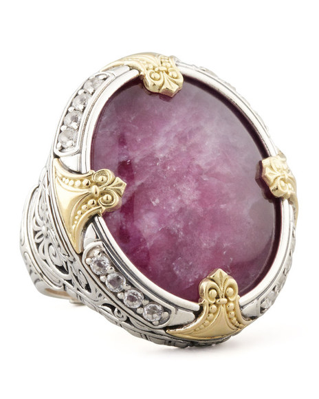 jewels quartz gold silver round silver & 18k gold ruby/quartz doublet ring ring konstantino ruby