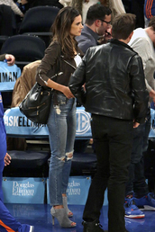 shoes,sandals,alessandra ambrosio,denim,jeans,jacket,bag