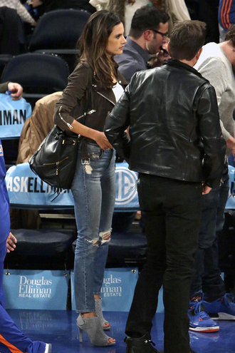 shoes sandals alessandra ambrosio denim jeans jacket bag
