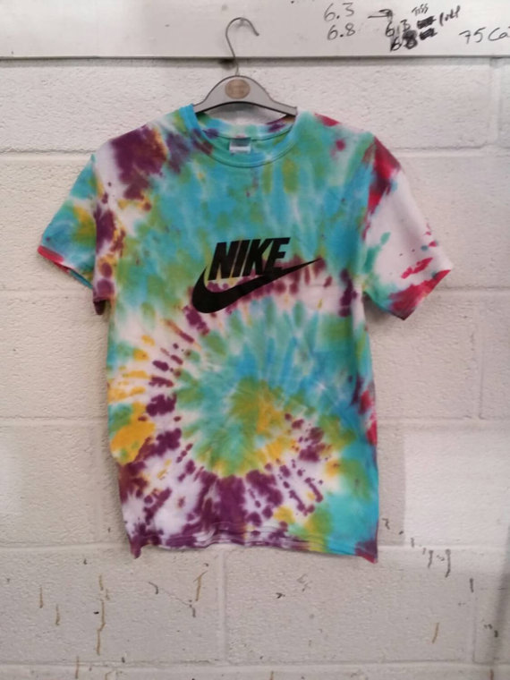 Unisex Customised Acid Wash Tie Dye Nike T Shirt Sz Medium