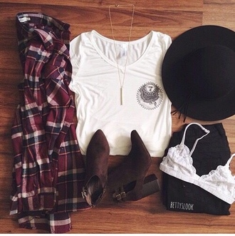 shirt grunge flannel hat black hat bra white bra lace lace bra boots heeled boots v neck tumblr tumblr fashion tumblr girl