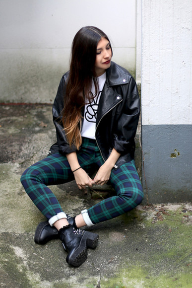 clothes shirt pants tartan fashion leggings girl outfit boots leather ombre peace winter autumn leather jacket