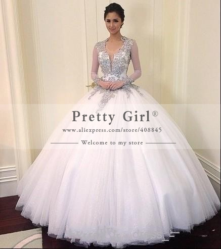 aliexpresscom buy robe de mariage luxury appliques beading ball gown romantic wedding dresses 2015 sexy sheer long sleeve wedding gowns cheap from - Aliexpress Mariage