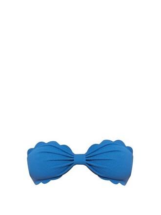 bikini bikini top bandeau bikini light blue light blue swimwear