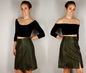 skirt,leather skirt,green leather,green,leather,army green,burberry jacket 2011 leather man,sexy,vintage