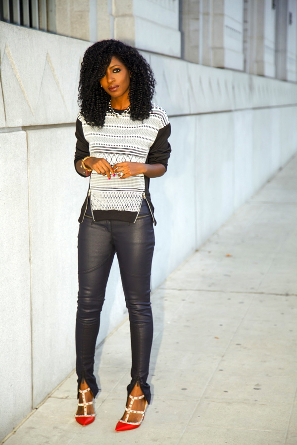 Style Pantry | Zippered Crew Neck   Coated Moto Jeans