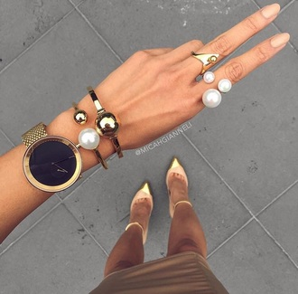 jewels jewelry bracelets rings and tings gold pearl watch heels fashion accessories accessory nail polish ring stacked bracelets