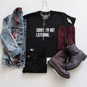 t-shirt,nyct clothing,graphic tee,black t-shirt,outfit,denim jacket,quote on it,boots,black jeans