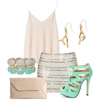 skirt aqua blue sequins teal aqua high heels sequin skirt tan top