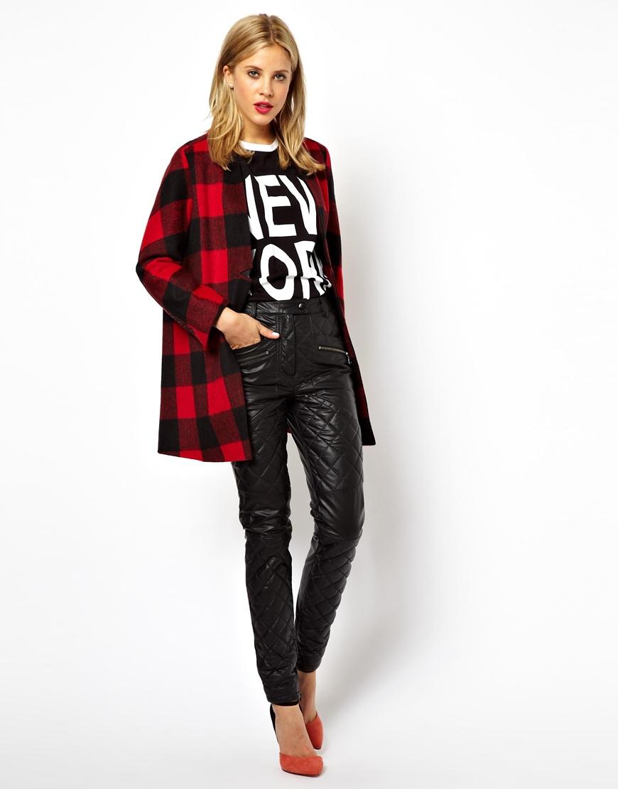Asos longline coat in brushed check at asos.com