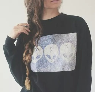 sweater alien grunge noir pull