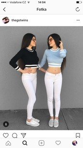 sweater,clothes,celebrity,instagram,instagram baddie,instagram clothes,instafamous,sexy,crop tops,crop,cropped,cropped sweater,top,blogger style,turkish,albanian,twins,baby blue,baby pink,black,long hair,white,black and white stripes,stripes,light blue,light pink,glasses,fashion week 2017,fashionista 2018,fashion vibe,fashion toast,long sleeves