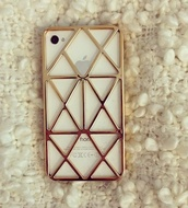 jewels,iphone case,iphone,gold,white,iphone cover,gold iphone cover,indie iphone case,sunglasses,metallic,love,phone cover,iphone 5 case,bag,iphone 4 case,cool,hat,gold phone case,geometric phone case,hollow case,hollow,lines,style