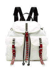 studded,new,backpack,leather backpack,leather,white,bag