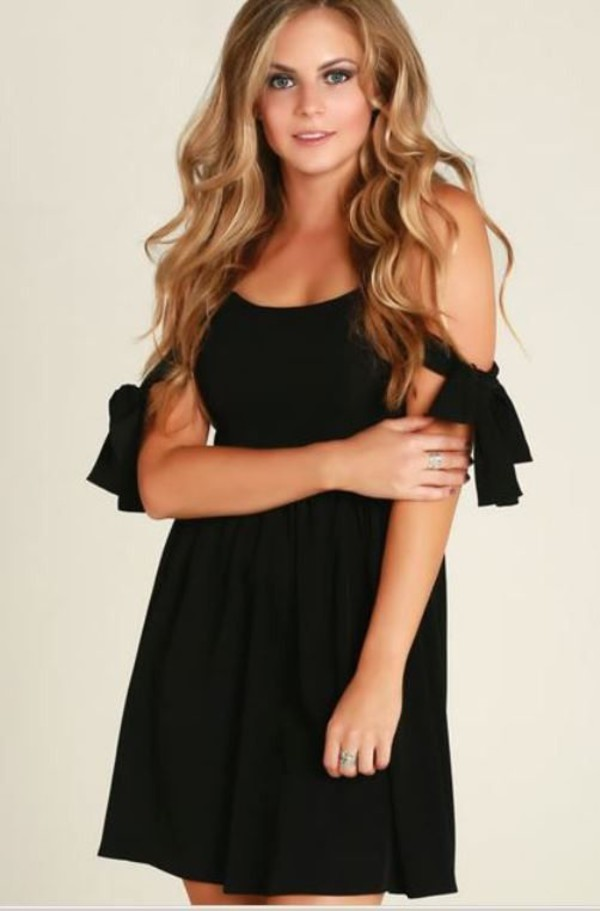 black dress little black dress little black dress black crepe crepe dress off the shoulder dress bows bow sleeves www.ustrendy.com