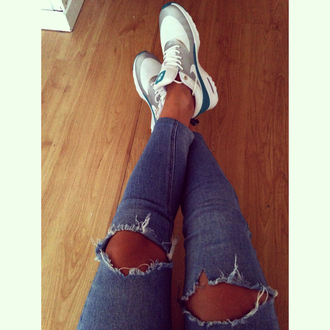 jeans destroyed jeans nike air max thea streetwear style ripped jeans shoes