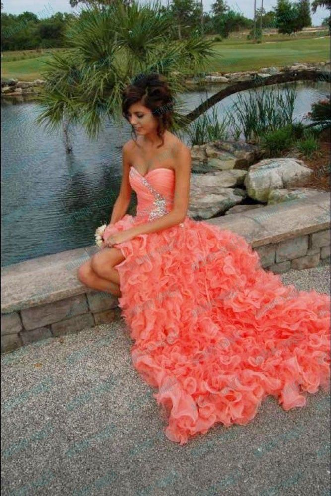 2013 Beading Sweetheart Ruffles Long Coral Organza Party Prom Dresses 4 6 8 10 | eBay