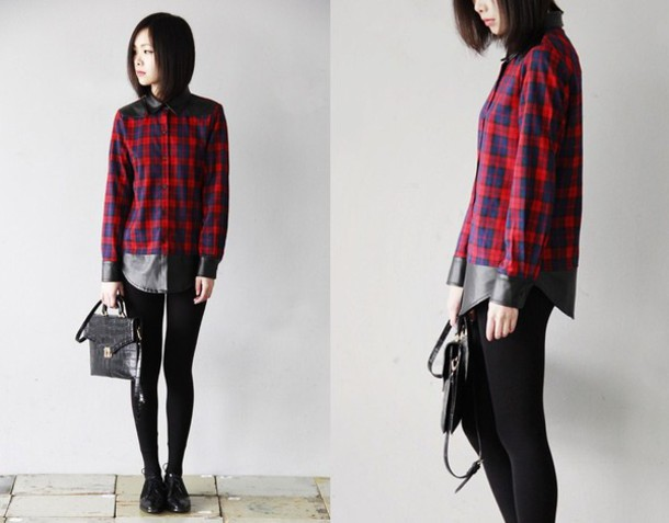 shirt plaid pu leather
