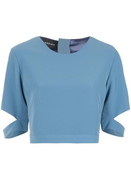 top cropped women spandex blue
