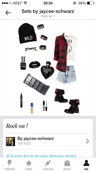 jacket edgy wild beanie plaid flannel shirt nirvana vans denim jewelry make-up