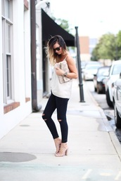 for all things lovely,blogger,top,jeans,shoes,bag,jewels,sunglasses,make-up,black jeans,black ripped jeans,ripped jeans,white top,pouch,silver clutch,sandals,caged sandals,nude sandals,sandal heels,high heel sandals