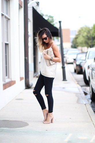for all things lovely blogger top jeans shoes bag jewels sunglasses make-up black jeans black ripped jeans ripped jeans white top pouch silver clutch sandals caged sandals nude sandals sandal heels high heel sandals