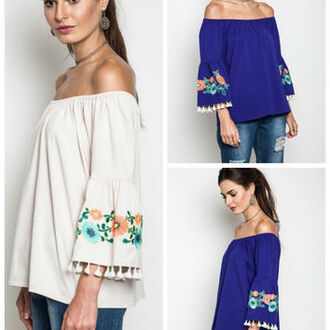blouse boho embroidered bell sleeves