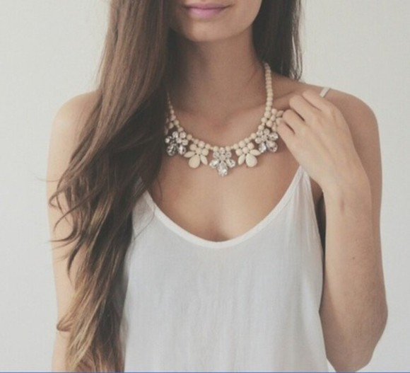 jewels white tank long hair brown hair glamour top t-shirt blouse spring longshoreman necklace pearl necklace diamonds boho white singlet