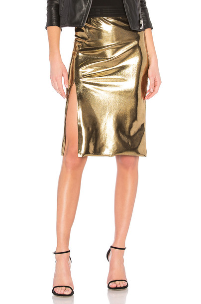 Baja East skirt slit skirt slit metallic gold