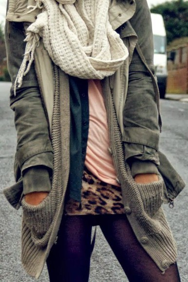 leopard print cardigan knitted cardigan layers scarf tights stockings jacket sweater army green jacket outfit idea fall outfits layered complete outfit pocket sweater white scarf