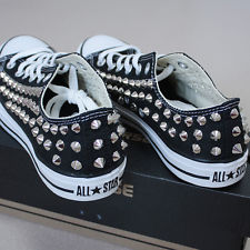 Genuine converse all star row top with studs sneakers sheos black