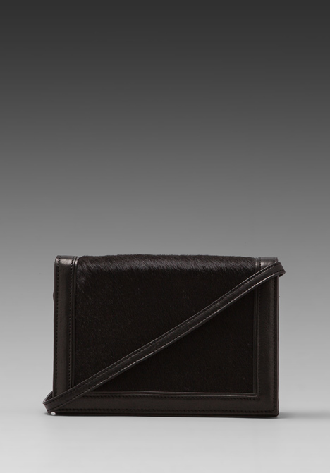 HARE   HART Convertible Calf Hair Shoulder Bag in Black - HARE   HART