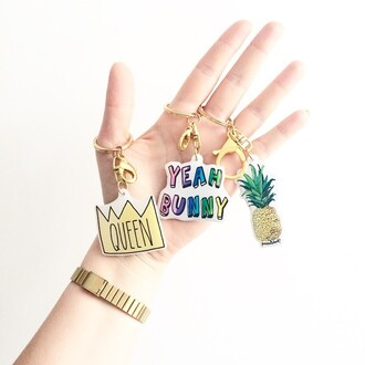 jewels yeah bunny pineapple keychain fruits summer