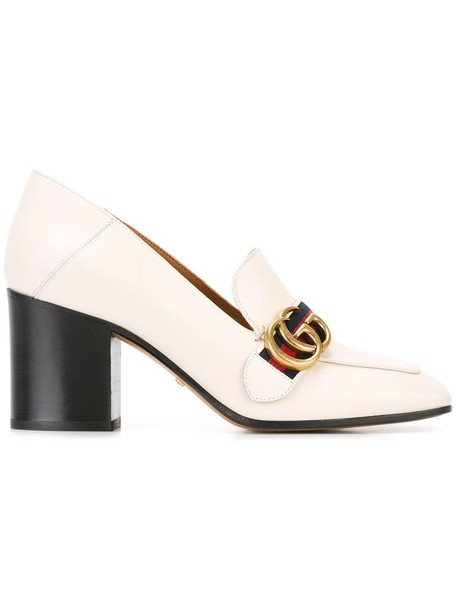 gucci heel women pumps leather white shoes