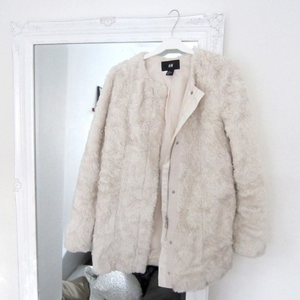 jacket winter jacket warm fluffy white