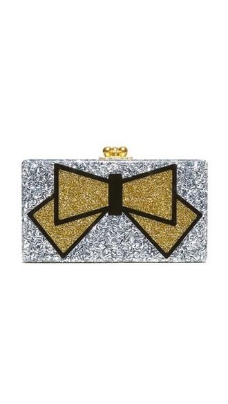 bow clutch silver bag