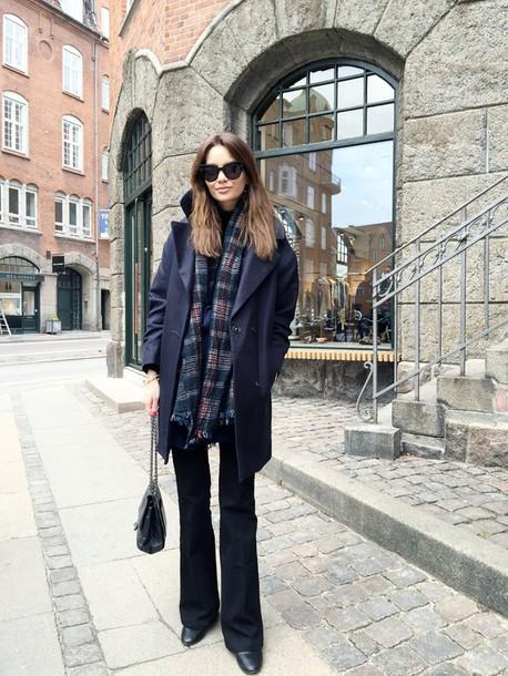 by funda blogger coat tartan scarf scarf jeans bag shoes