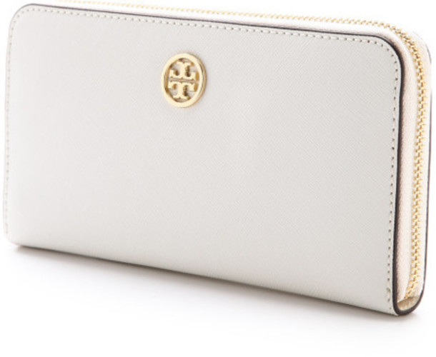 27d69a088cc bag tory burch wallet purse white leather zip continental robinson gold tory  burch summer fashion