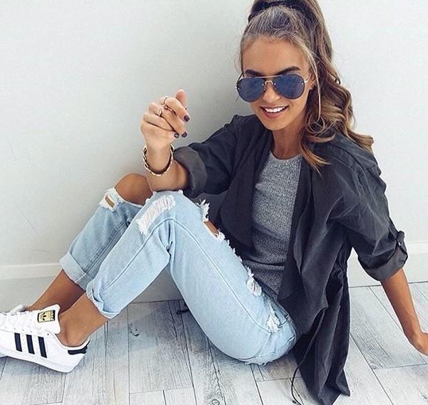 jacket beautiful grey bag swag shirt grey top grey t-shirt jeans boyfriend jeans light blue jeans ripped jeans