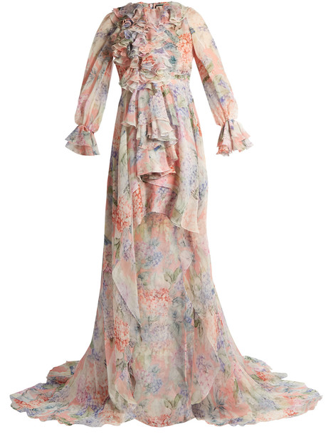 d37feafc3 GUCCI Hydrangea-print silk-chiffon gown in white / multi - Wheretoget