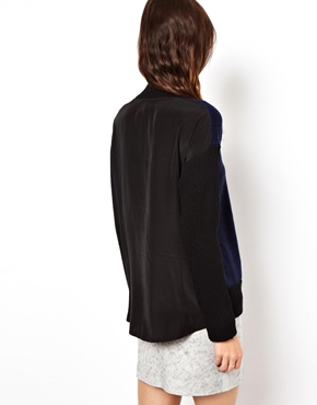 ASOS | ASOS Jumper With Woven Back and Turtle Neck at ASOS