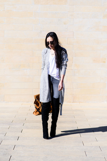 the fancy pants report blogger cardigan t-shirt jeans thigh high boots jewels bag sunglasses shoes