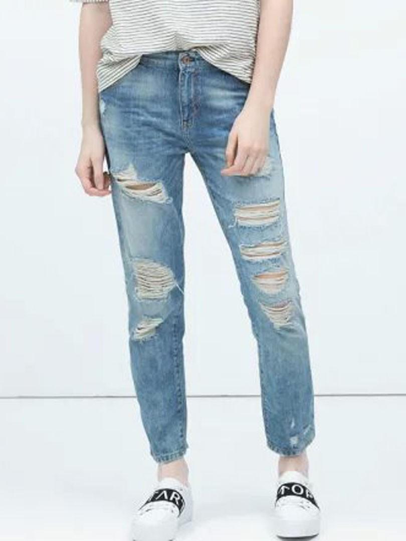 blaue freund zerrissene mid wasch kn chel jeans. Black Bedroom Furniture Sets. Home Design Ideas