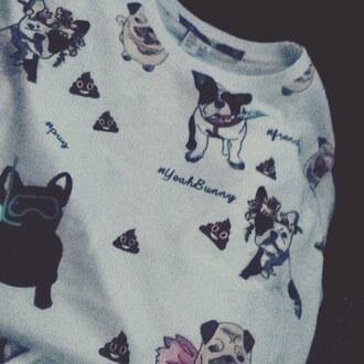 t-shirt yeah bunny white kawaii dog frenchie pugs